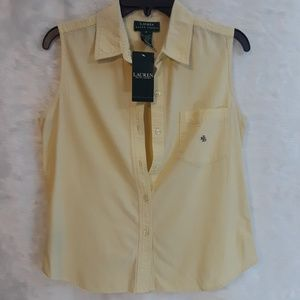 RALPH LAUREN yellow sleeveless button down